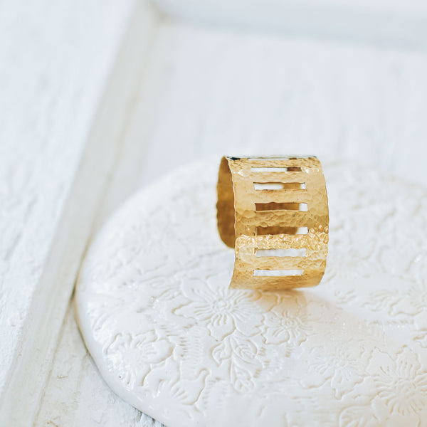 ROAD LESS TRAVELED BRASS CUFF