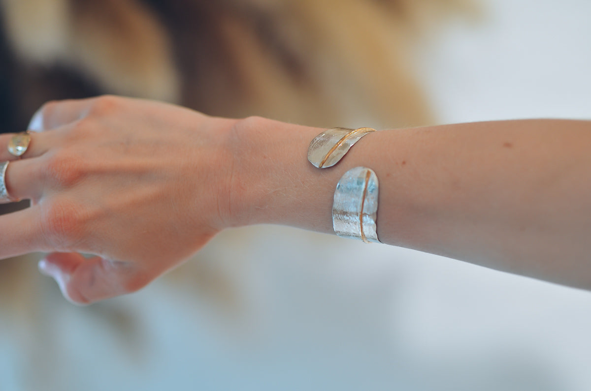 Clothed in Dignity (Sterling silver bracelet with 14k yellow gold fill cuff)