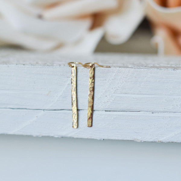 Hammered Gold Bar Earrings