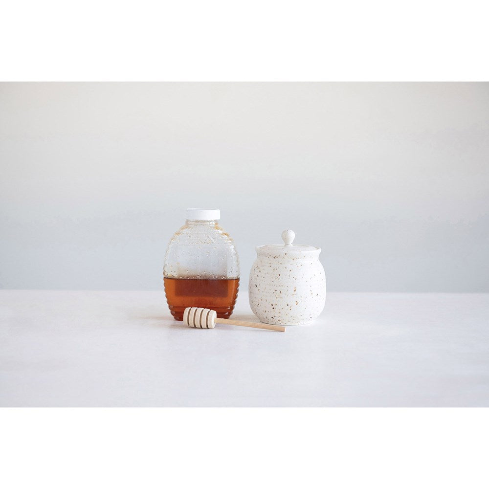 Stoneware Honey Jar w/ Wood Honey Dipper