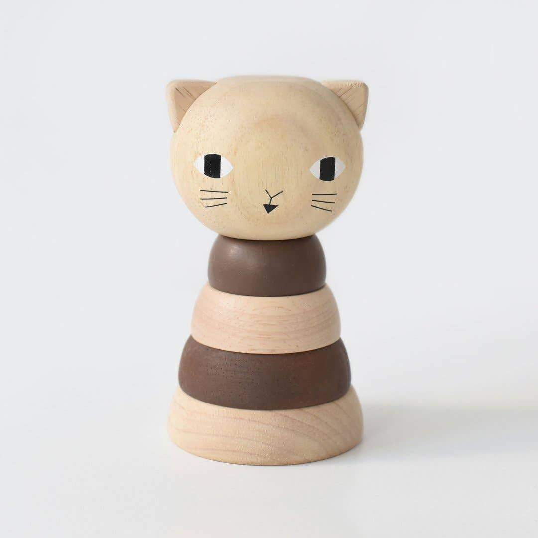 Wee Gallery - WOOD STACKER - CAT