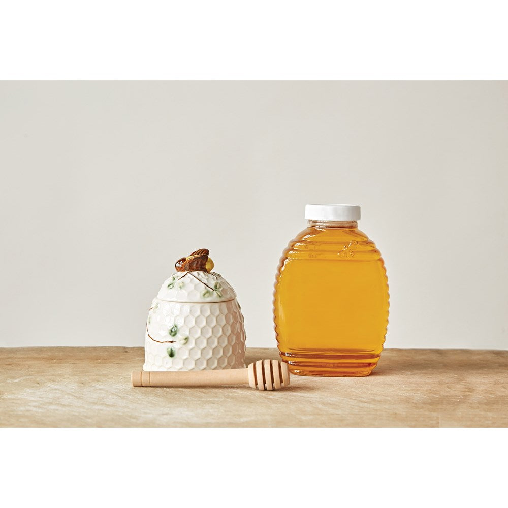 Round Stoneware Honey Jar w/ Wood Honey Dipper