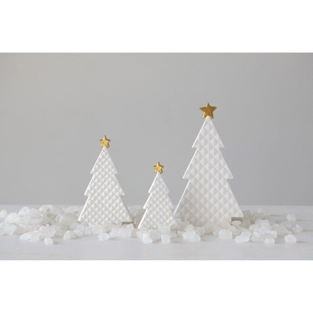 Large Embossed Porcelain Tree with Gold Star