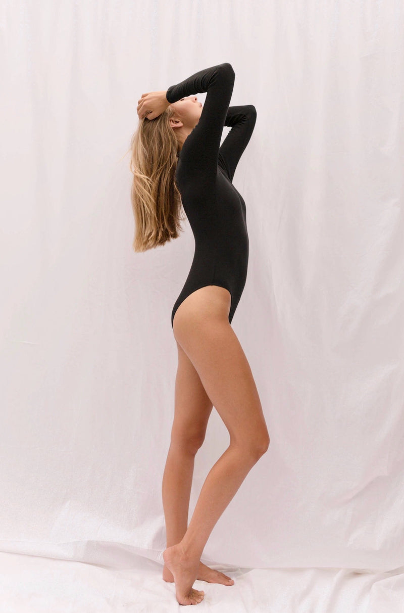 ALEXIOS Turtleneck Bodysuit in Black