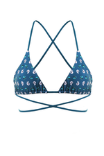 CLARA Bikini Top in Flower Knot Blue