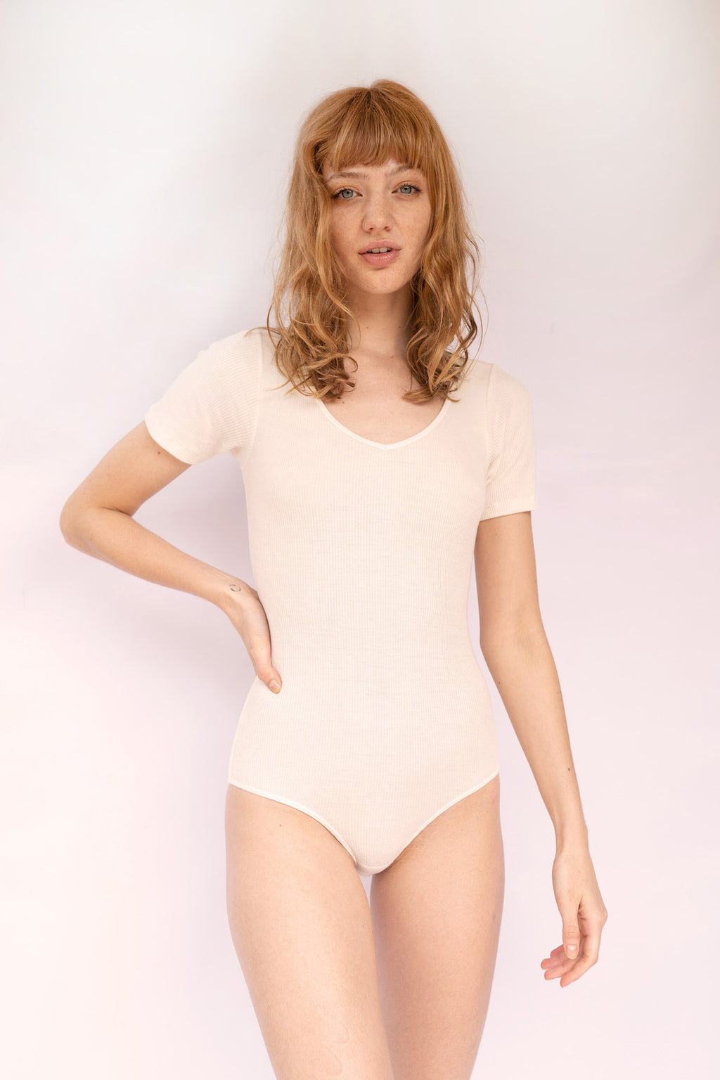 UMA Short-Sleeve V-Neck Bodysuit in Lemon