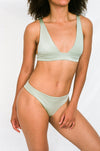 BELEN Bikini Top in Metallic Moss