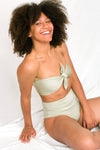 OTHELLO Bandeau Bikini Top in Metallic Moss