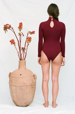 ALEXIOS Turtleneck Bodysuit in Burgundy