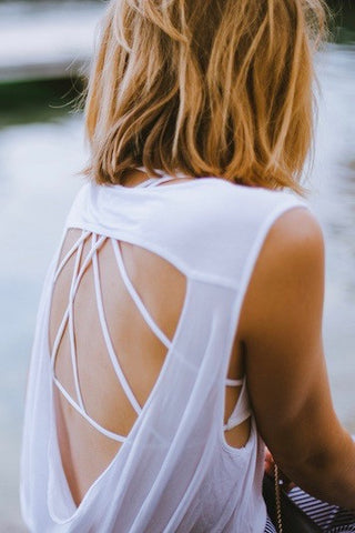 ALLEGRA Cut-Out Top Off-White