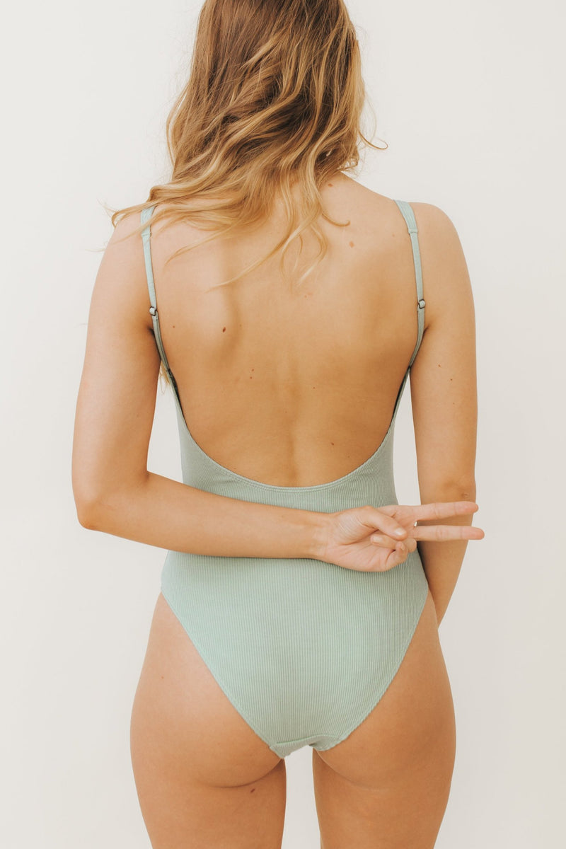 SARA Feather Weight Bodysuit in Mint