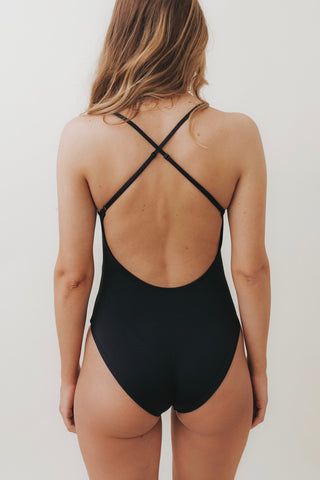HEIKI Crossed-Back One Piece Black
