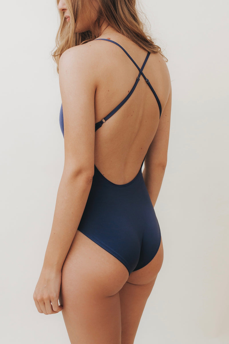 HEIKI Crossed-Back One Piece Navy
