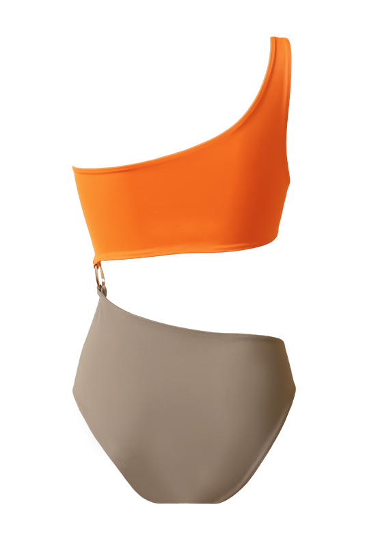 PAULA Trikini Orange & Taupe
