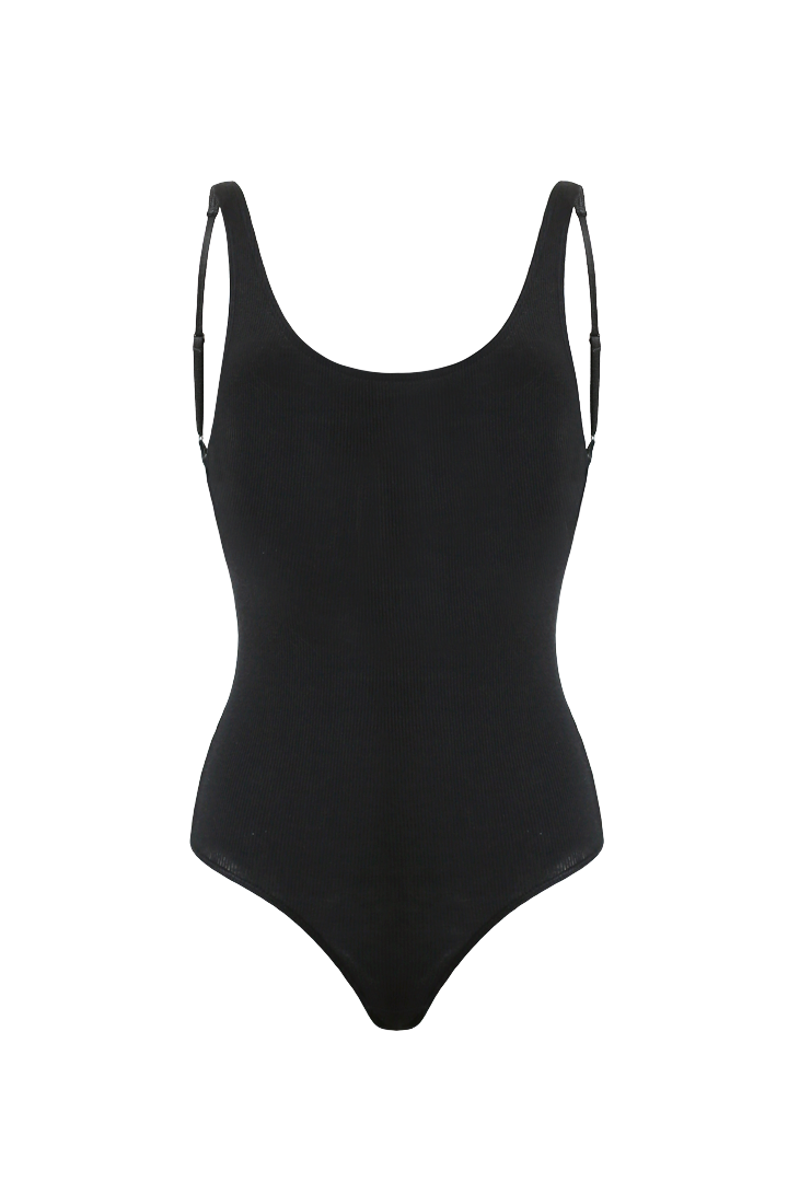 SARA Feather Weight Bodysuit in Black