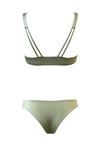 BELEN Longline Bikini Top in Metallic Moss