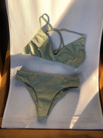 PORTOKALI Bikini Top in Metallic Moss