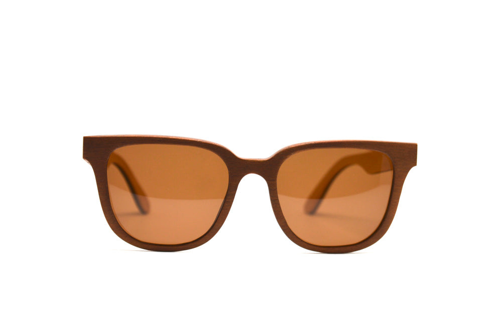 Rectangular Skate Wood Sunglasses - Brown with Brown Lenses