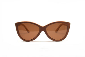 Cateye Skate Wood Sunglasses - Brown
