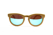 Load image into Gallery viewer, Keyhole Bamboo Sunglasses - Blue Mirror Lenses
