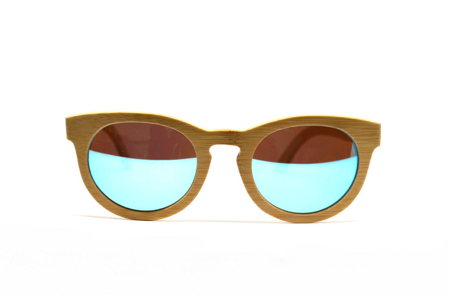 Keyhole Bamboo Sunglasses - Blue Mirror Lenses