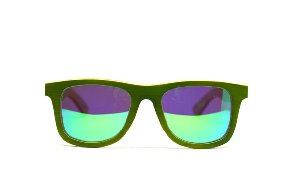 Classic Wayfarer Skateboard Wood Sunglasses - Green with Mirror Lenses