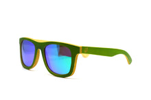 Load image into Gallery viewer, Classic Wayfarer Skateboard Wood Sunglasses - Green with Mirror Lenses