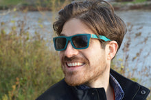 Load image into Gallery viewer, Compact Rectangular Skate Wood Sunglasses - Teal Blue