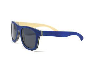 Classic Wayfarer Skateboard Wood Sunglasses - Royal Blue