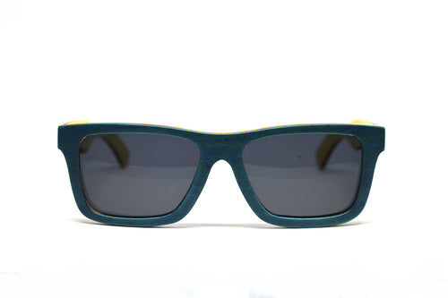 Compact Rectangular Bamboo Sunglasses - Teal Blue - Keepwood Eyewear