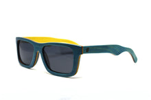 Load image into Gallery viewer, Compact Rectangular Bamboo Sunglasses - Teal Blue - Keepwood Wood Sunglasses