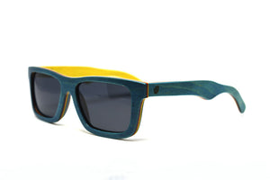 Compact Rectangular Bamboo Sunglasses - Teal Blue - Keepwood Wood Sunglasses