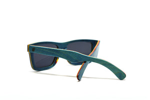 Compact Rectangular Skate Wood Sunglasses - Teal Blue