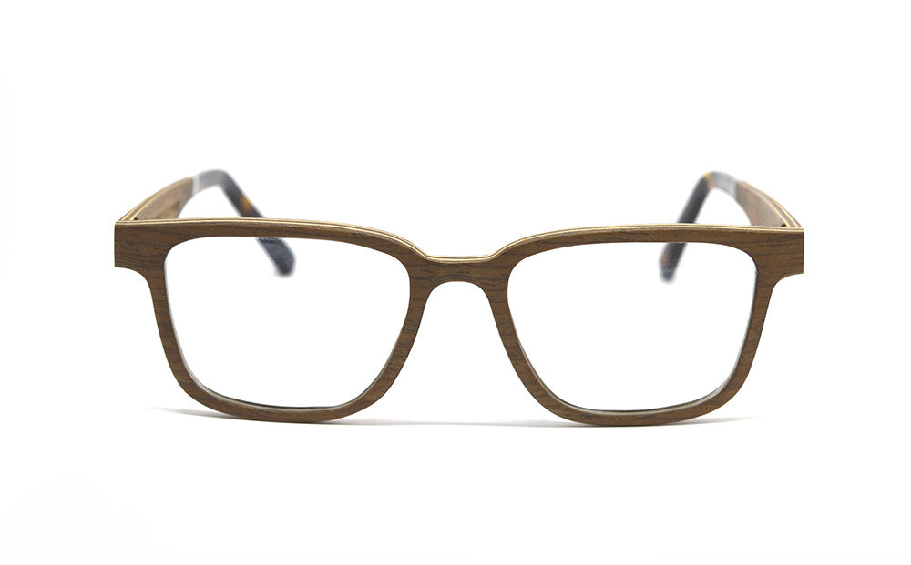 Rectangular Wood Optical Frames - Brown Oak