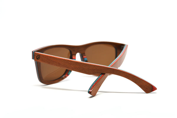 skateboard wood sunglasses brown inside view