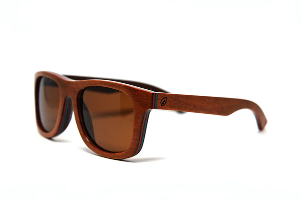 brown skate wood polarized sunglasses side view