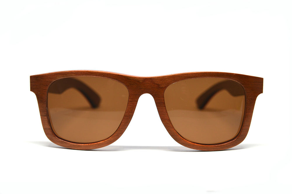 brown skateboard wood sunglasses brown lenses front view