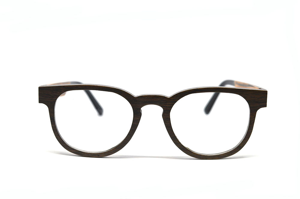 Classic Keyhole Eyeglasses - Dark Oak Wood