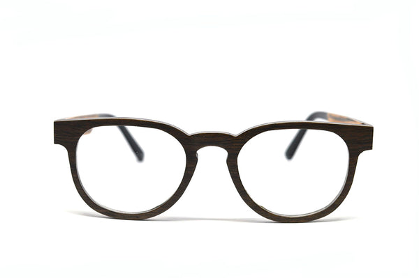 dark oak wood eyeglass frames front view white background