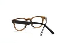 Load image into Gallery viewer, black oak wood reading glasses inside view acetate earpieces