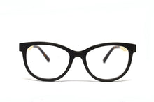 Load image into Gallery viewer, cateye black wooden eyeglasses front view