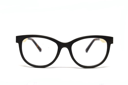 cateye black wooden eyeglasses front view