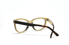 Load image into Gallery viewer, black and white wood cat eye glasses inside view