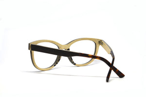 black and white wood cat eye glasses inside view