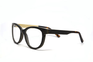 cat eye wood reading glasses side view