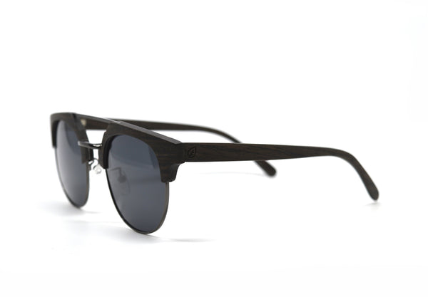 Double Metal Bridge Sunglasses - Ebony Wood