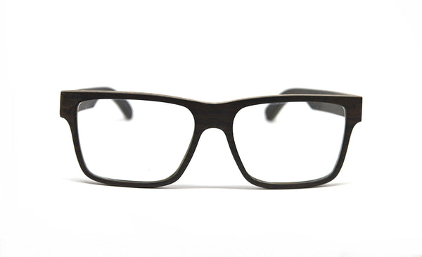 Square Frame Wood Eyeglasses - Black Oak