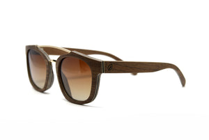 Double Metal Bridge Sunglasses - Brown Oak