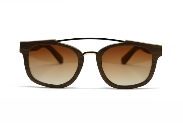 Double Metal Bridge Sunglasses - Brown Oak for <span class=money>$93.75</span> at Keepwood Eyewear