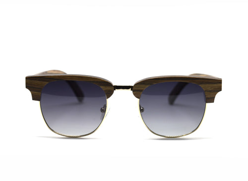 Semi Frame Sunglasses - Brown Oak Wood